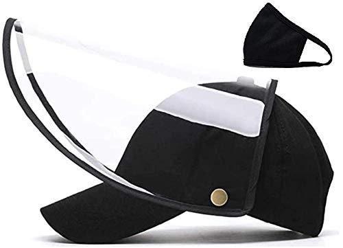 CYB Detachable Black Full Face Hat Adjustable Baseball Cap for Men and Women (Black Cap)