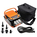 Tuomico 6000mAh Rechargeable LCD Electric Air Pump with 2 USB Ports, Max 16PSI SUP Pump with 6 Nozzles & 3 LED Lights for Boats, Stand Up Paddle Board, Dual Stage Inflation & Auto-Off Feature
