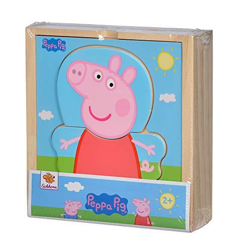 Eichhorn 109265707 - Puzzle de mudanza de Peppa Pig con Diferentes Prendas de Vestir, Multicolor, puzle de Madera certificada FSC, 14 Piezas, 4 x 13 x 14 cm, a Partir de Dos años