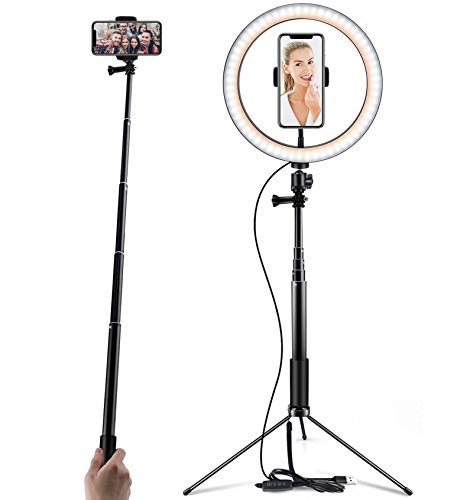 "Ring Light 10"" Selfie Light Ring with Tripod Stand Selfie Stick & Cell Phone Holder for Live Stream YouTube Video Makeup Vlog Photography Compatible with iPhone Android (10"")"