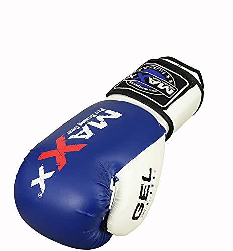 Maxx Blue/White boxing gloves Junior kids & adult sizes Rex leather 6oz - 16oz (8oz)