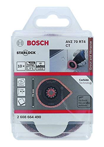 Bosch Professional 2608664490 10 Pezzi rimozione Malta 3 Max AVZ 70 RT4 (Starlock, Grana 40, Ø 70 mm, Accessori Multifunzione), Colore:, Size