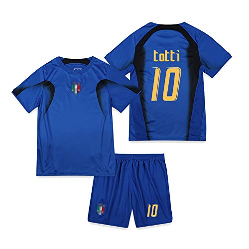 Retro 2006 italienische Fußballuniform Piero 7 Totti 10 Nesta 13 Perrotta 20 Fans Trainingsuniformen, Student Adult Football Jersey Kits T-Shirt Shorts-No.10-L