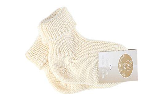 warme Baby/Kinder Schafwollsocken weiß - Natur in der Größe 15/16