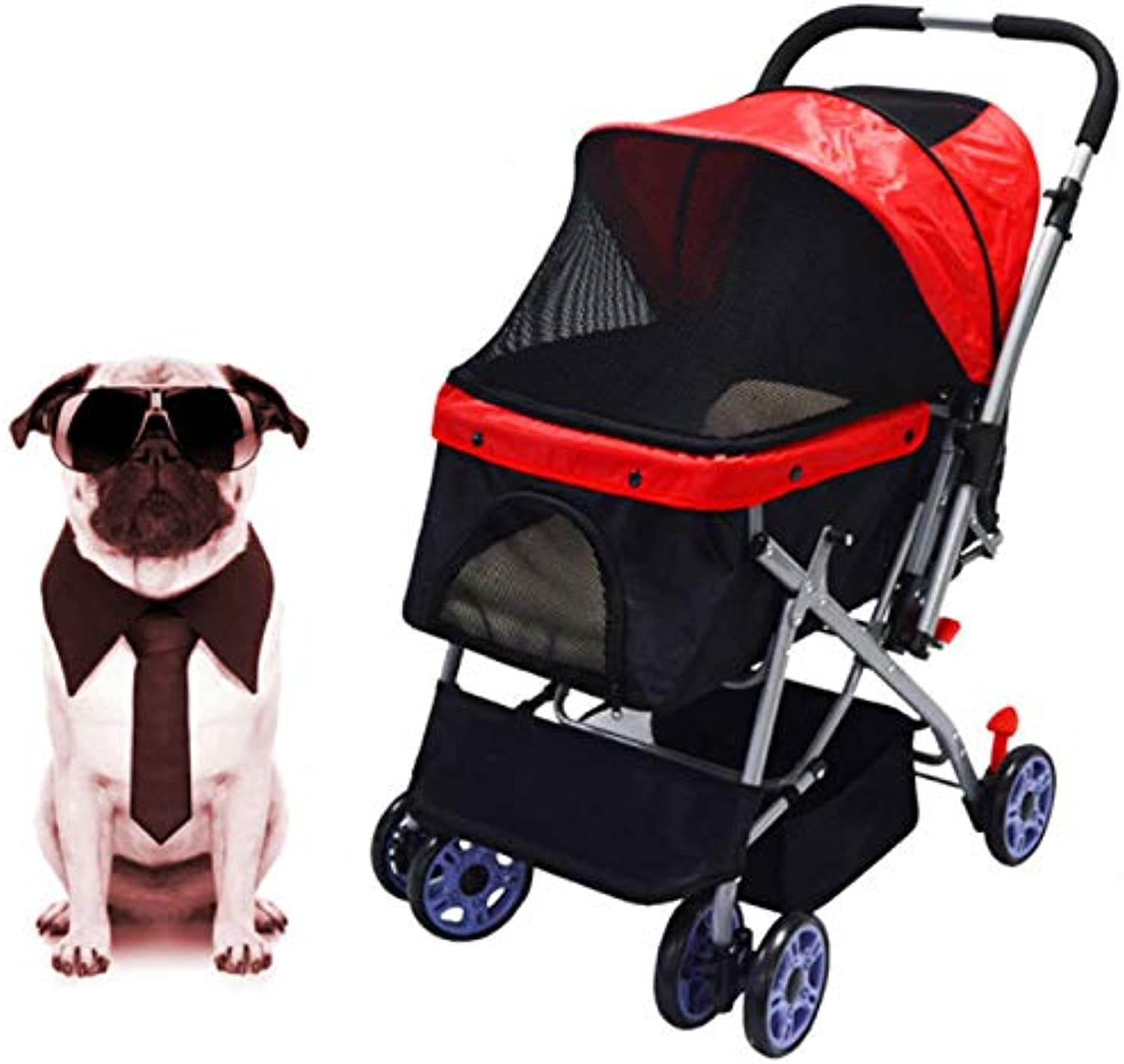 QIAOXC Front And Rear Adjustable Handle Folding Fourwheeled Pet Stroller Front Wheel 360degree redating Pet Travel Stroller Onetouch Assembly And Storage