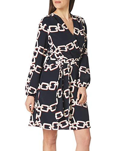 Morgan Robe imprimé chaîne RILOU Vestido Informal, Azul Marino, 40/Alto para Mujer