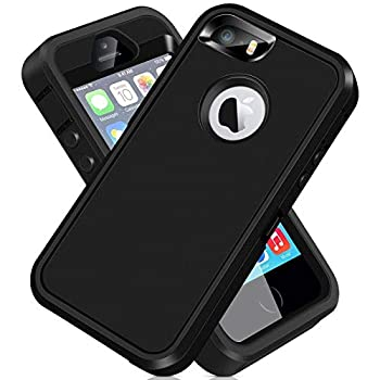 iPhone 5S Case iPhone SE 2016 Case ACAGET iPhone 5 Case Heavy Duty Protective Armor Shock-Absorbing Dual Layer Rubber TPU + PC Cover Non-Slip Bumper Phone Cases for iPhone 5S/SE/5 Black