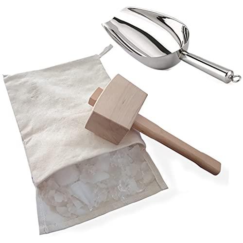 Bolsa Lewis&Martillo de Hielo Bolsa de Hielo Triturada Reutilizable de Algodón Mazo de Hielo de Madera Cuchara para Hielo de Acero Inoxidable kit de Accesorios de Cocina Bar Kitchen Accessory Kit pa