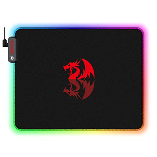 Redragon RGB LED Large Gaming Mouse Pad Soft Matt with Nonslip Base, Stitched Edges (330 x 260 x 3mm)