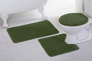 3pc Solid Olive Green Non Slip Bath Rug Set for Bathroom U-Shaped Contour Rug, Mat and Toilet Lid Cover New