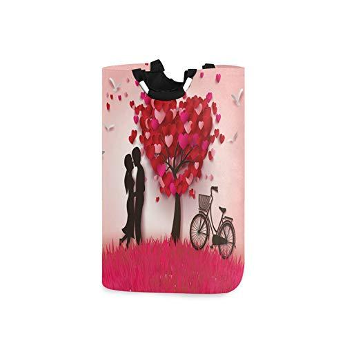 BGIFT - Cesta plegable para la colada para el día de San Valentín, con asa, impermeable, doble grande, para ropa sucia, organizador de dormitorio, habitación de guardería
