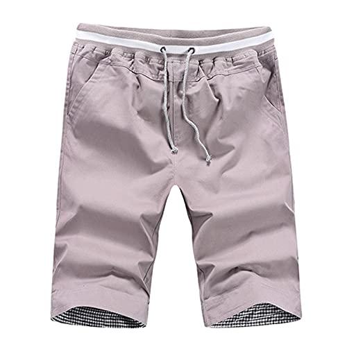Shorts Pantalones Cortos Hombres Pantalones Cortos Casuales De Algodón De Estilo Veraniego para Hombre, Pantalones Cortos hasta La Rodilla Sólidos para Hombre, Bermudas, Pantalones Cortos De Play