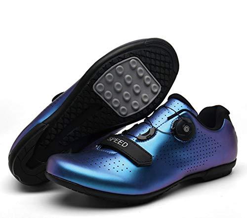 Cool-CZQ Zapatos De Bicicleta Zapatillas De Bicicleta De Carretera, Zapatillas De Bicicleta Unisex Sin Bloqueo, Zapatillas De Bicicleta De Montaña De Fondo Duro (43,Azul Fantasma)