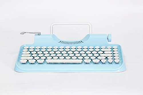KnewKey Typewriter Style Mechanical Wired & Wireless Keyboard with Tablet Stand, Bluetooth Connection (v1, blue)