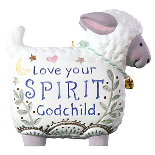 Hallmark Keepsake Christmas Ornament 2019 Year Dated Love Your Spirit, Godchild Lamb, New Baby Baptism Gift Porcelain