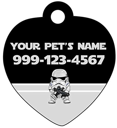 uDesignUSA Disney Star Wars Custom Pet Id Tag for Dogs & Cats Personalized w/Your Pet's Name & Number (Stormtrooper)