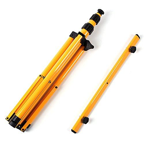 DERCLIVE - Soporte telescópico para trípode de cabeza gemela para luz de inundación LED, iluminación de lámpara de trabajo, color amarillo