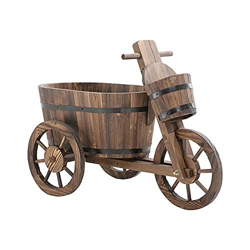 PLHMS Vaso per fioriera, Supporto per Vaso di Fiori in Legno, Supporto per Carrello Secchio per Piante da Giardino con Ruote, Vasi, figurina per Scatola Rustica per Biciclette, Decorazione