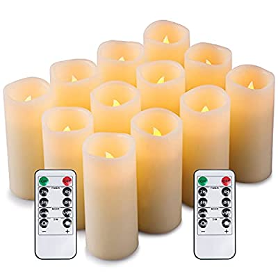 Enpornk Set of 12 Flameless Candles Battery Operated LED Pillar Real Wax Electric Unscented Candles with Remote Control Cycling 24 Hours Timer, Ivory Color from