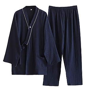 パジャマ メンズ 長袖 綿100% 二重ガーゼ 和風 部屋着 ルームウェア ペア 上下セット