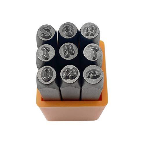 Crazyfly - Set di timbri per incisioni in metallo, con lettere maiuscole/minuscole, 27 pezzi di base Bridgette 3 mm