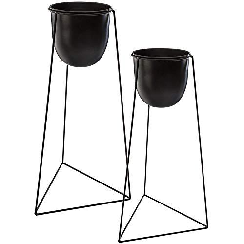 Atmosphera - Set di 2 vasi neri con supporti in metallo