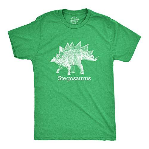 Crazy Dog Tshirts - Stegosaurus Graphic T-Shirt Vintage Dinosaur Print Shirt Dino Jurassic (Heather Green) - 5XL - Camiseta Divertidas