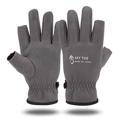 QKURT Angelhandschuhe, Winter Thermo Anti-Rutsch Handschuhe wasserdichte Handschuhe mit 2-Finger-Cut Schießhandschuh