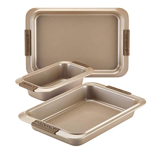 Anolon 47395 Advanced Nonstick Bakeware Set with Grips includes Nonstick Bread Pan, Cookie Sheet / Baking Sheet and Baking Pan - 3 Piece, Bronze Brown