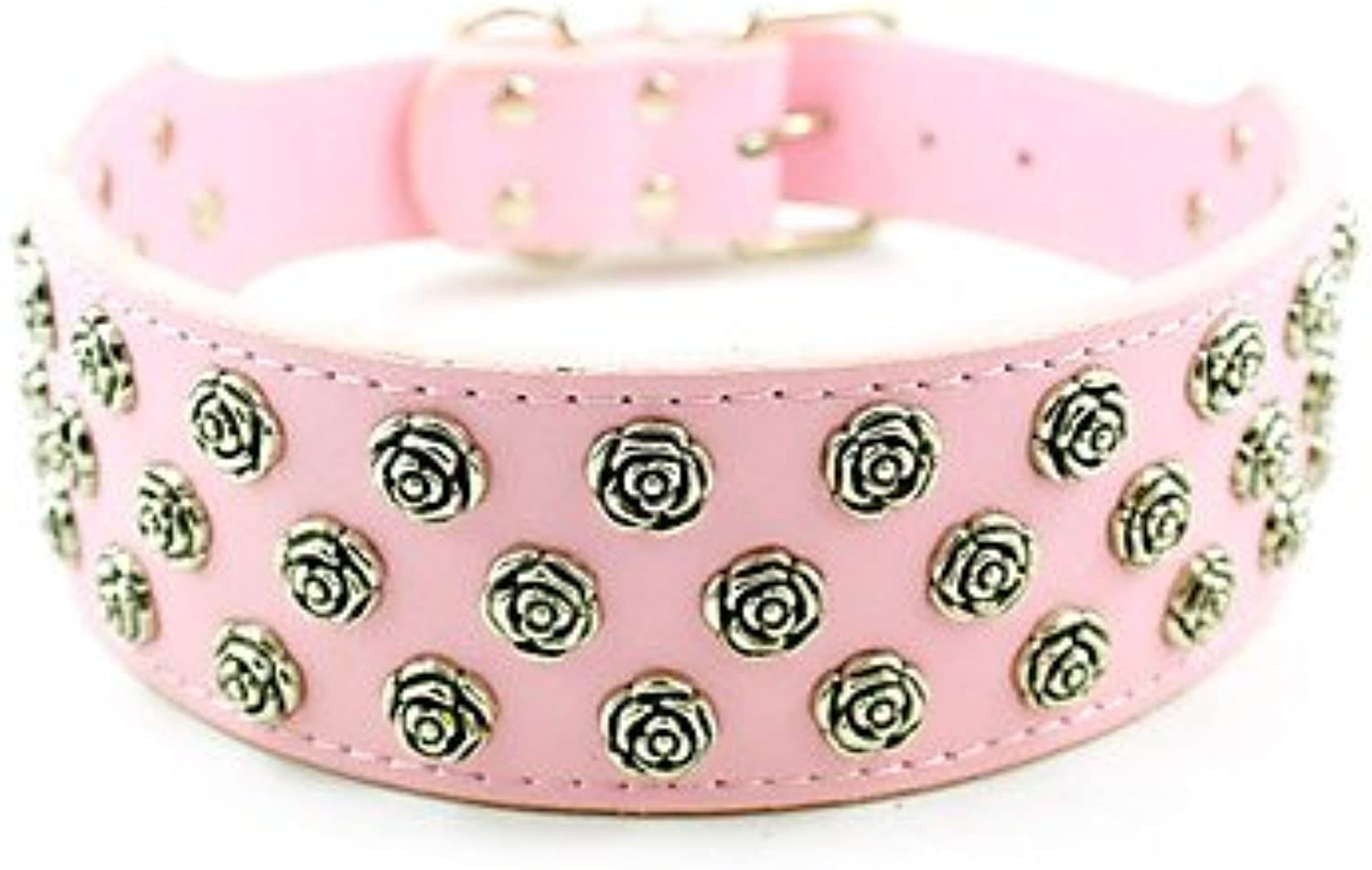 Quick shopping Adjustable PU Leather 3 Rolls Metal Flower Decorated Collar for Pets Dogs (Assorted colors, Sizes) , Pink , L