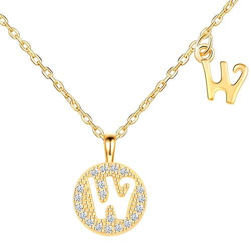 Unendlich U-Collar de la serie de veintiséis letras S925 collar de circonitas de plata esterlina (de la A a la Z), ligero y lujoso, para novia/buena amiga