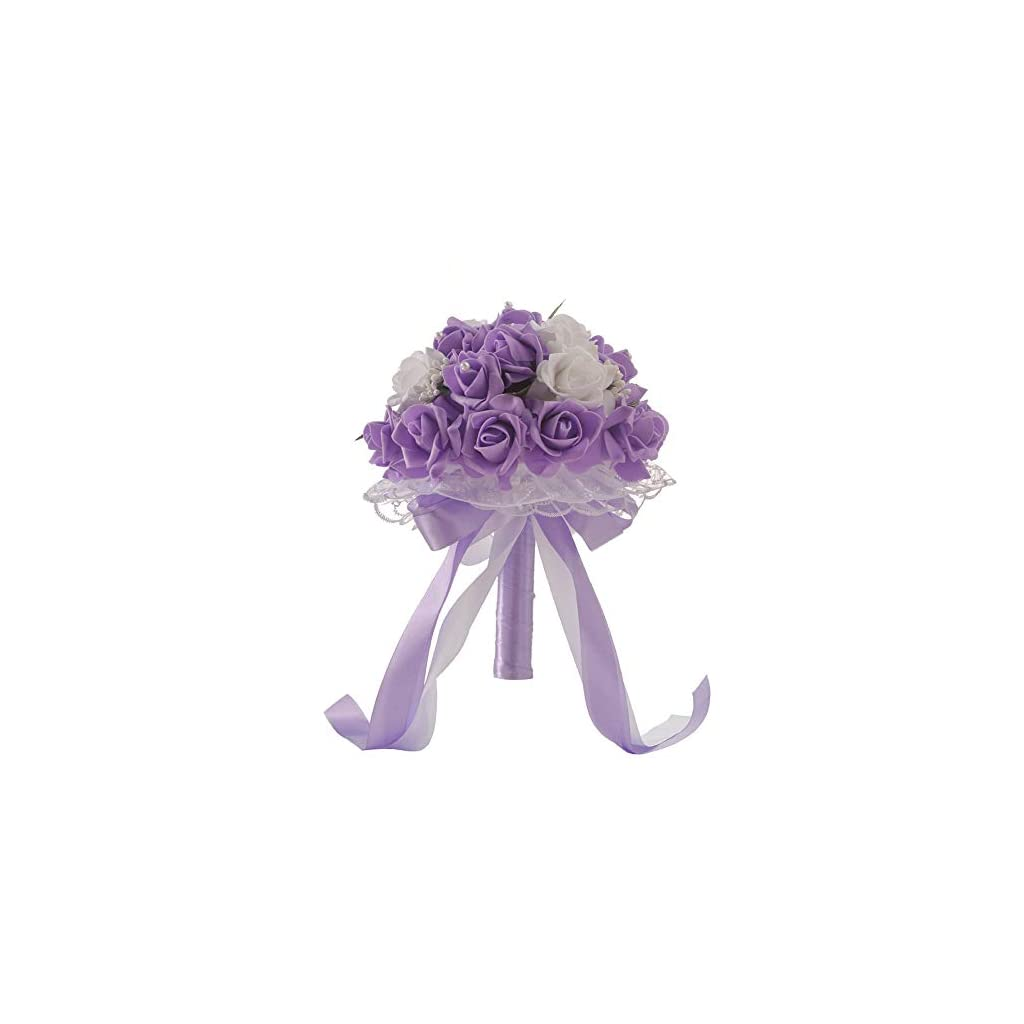 DD-home Romantic Wedding Bouquet Bride Bouquets - Crystal Roses Bridesmaid Wedding Bouquet Bridal Artificial Silk Flowers - Artificial Holding Rose Flowers for Wedding, Party and Church (Purple)