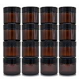 Tarro de Cristal marrón con Tapas roscadas y Forros Blancos para cremas, lociones y aceites Esenciales - Tarro de 2oz / 60ml (16 Pack)