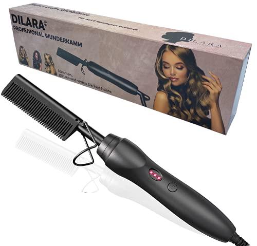 Peine milagroso profesional 2 en 1, plancha de pelo y cepillo de cerámica para rizar, alisar, peinar y peinar el cabello, para mujeres y mujeres (negro)