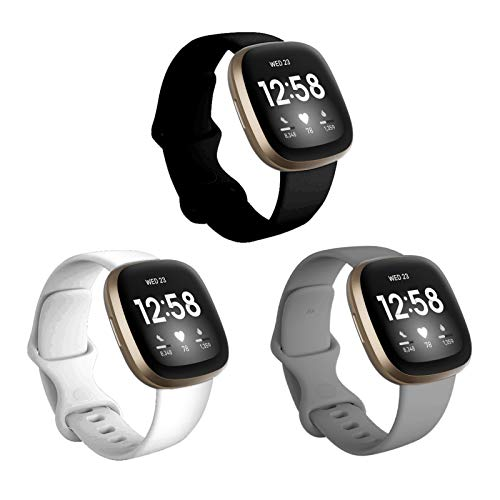 BHARVEST 3 Pack Bands Compatible with Fitbit Versa 3/Fitbit Sense Watch for Women Men, Soft Silicone Sport Replacement Wristband Strap for Smart Watch Fitbit Versa 3, Large, Black+White+Grey
