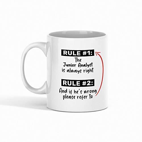 N\A Taza de café de Analista Junior - Regla 1 El Analista Junior Siempre Tiene la razón Regla 2 Y si se equivoca, consulte compañero de Trabajo - Tazas Divertidas Regalos de un a