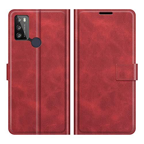 DAMAIJIA für Alcatel 1S 2021 Hüllen Klapphülle PU Leder Silikon Wallet Schutzhülle Schutz Mobiltelefon Flip Back Cover für Alcatel 3L 2021 Tasche Handy Zubehör (Red)