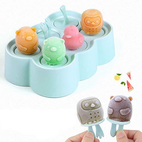 Nuovoware Eisformen, 6 Fach Mini Tierförmig Popsicle Eis am Stiel Formen mit Sticks, PP Silikon Material BPA Frei, Perfekt DIY Werkzeug für Familie Küchen Kind Summer - Blau