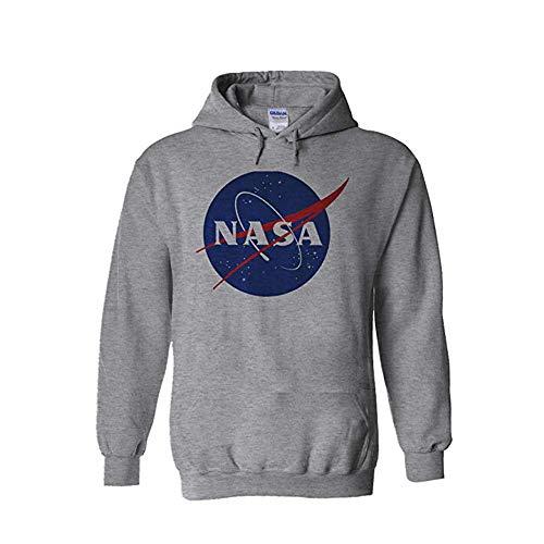 Nasa National Space Administration Logo Sports Grey Men Women Unisex Hooded Sweatshirt Hoodie-M