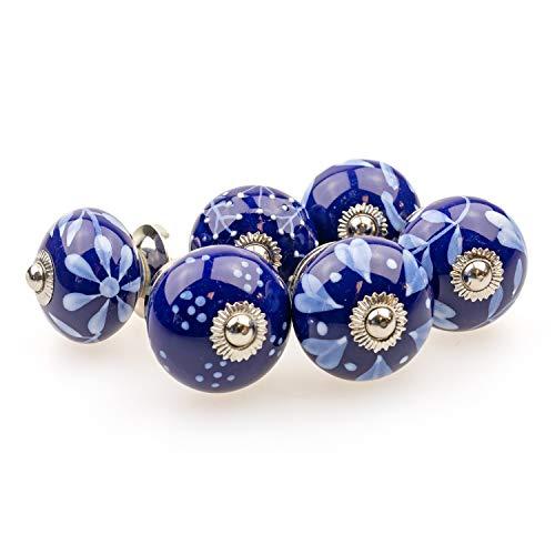 Möbelknopf Möbelknauf Möbelgriff 6er Set 095GN gemischt Blau Silber - Jay Knopf Keramik Porzellan handbemalte Vintage Möbelknöpfe für Schrank, Schublade, Kommode, Tür