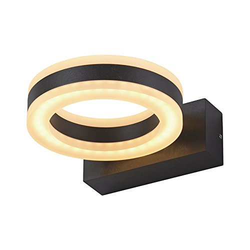 Vision-EL 767751 Applique Murale LED Gris Anthracite rond 12W 800 LM 4000°K IP54, Aluminium/PC, 12 W, (H x L)-1765 x 140 mm