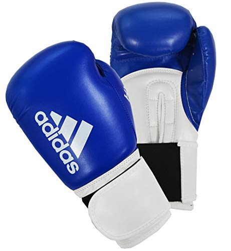 Adidas, guantoni da boxe unisex da uomo e donna, per allenamento Sparring Hybrid 100, 170,1 g, 226,8 g, 340,2 g, 396,9 g, 453,6 g, blu, 340,2 g