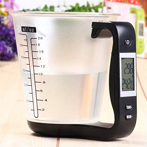 FLLOVE FANGLIANG 3 Color Cup DE CUCHA DE Cocina DE Cocina Digital BEETER LABA Báscula de Herramienta electrónica con Pantalla LCD Herramienta de medición de Temperatura (Color : Black)
