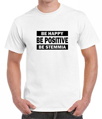 bemode T-Shirt Uomo Divertente Maniche Corte BE Happy - BE Positive - BE STEMMIA (L, Bianco)