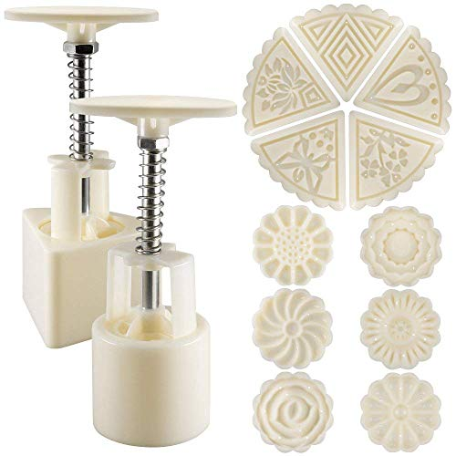 2 Sets Mooncake Mould Press 50g mit 11 Briefmarken, Blumen und Dreieck Form Dekoration Werkzeuge für Backen DIY Cookie - Weiß