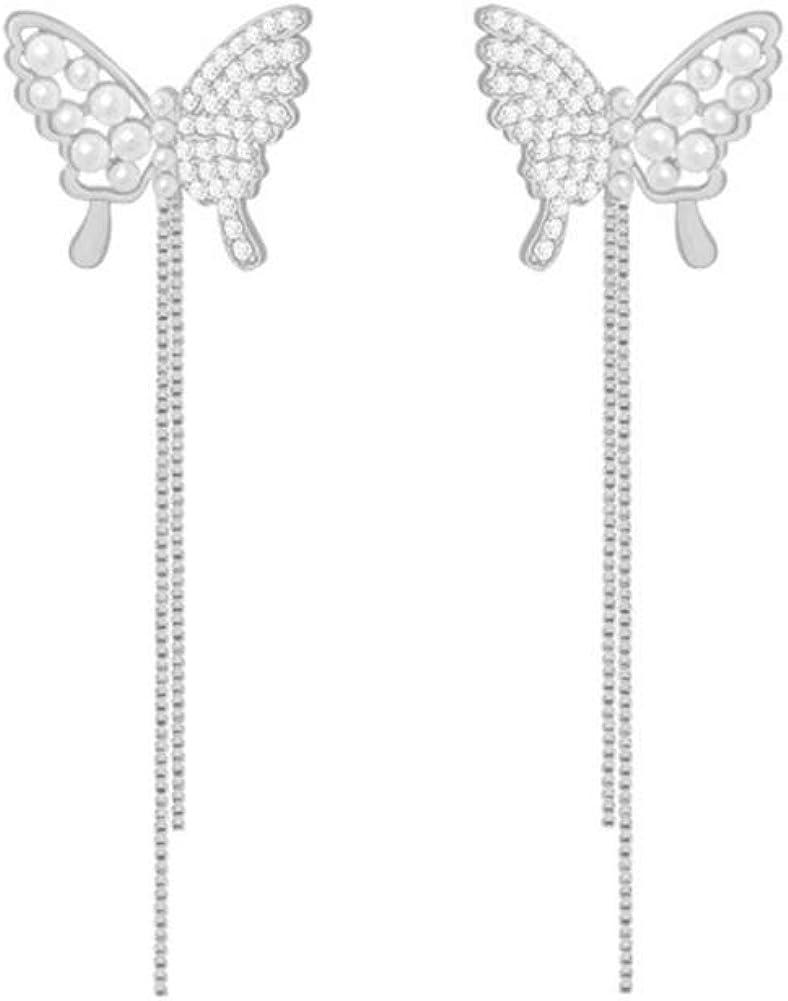 YUNXI pearl Rhinestone Long Metal Tassels Butterfly Earrings 3D Hollow shiny Crystal Zircon Butterflies Drop Dangle Earring for Women Girls