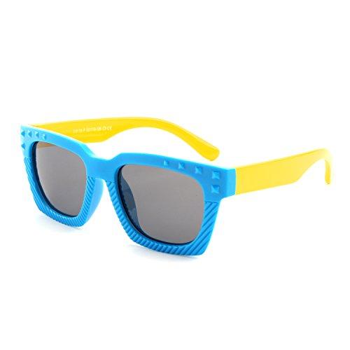 GQUEEN GQUEEN Gummi Flexible Kinder Rechteckige Polarisierte Sonnenbrille für Jungen Mädchen Baby und Kinder Alter 3-10,ET18