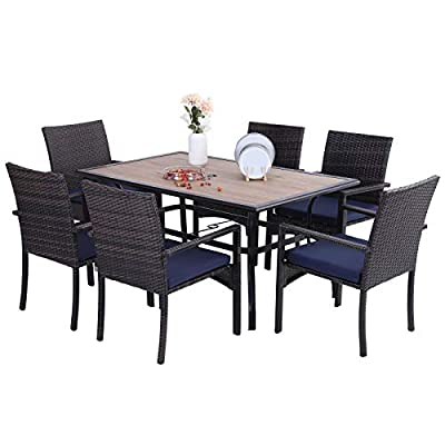Sophia & William Outdoor Patio 7 Pieces Dining Set with 1 Metal Table and 6 Brown PE Rattan Chairs with Seat Cushions, Modern Outdoor Table with Umbrella Hole and PVC Wood-Like Table Top