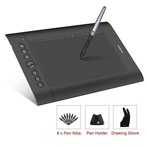 HUION H610 Pro V2 Tavoletta Grafica Supporto per inclinazione Stilo senza batteria con 8192 Pen Pressure e 8 Hot Keys per Windows e Mac Disegno digitale