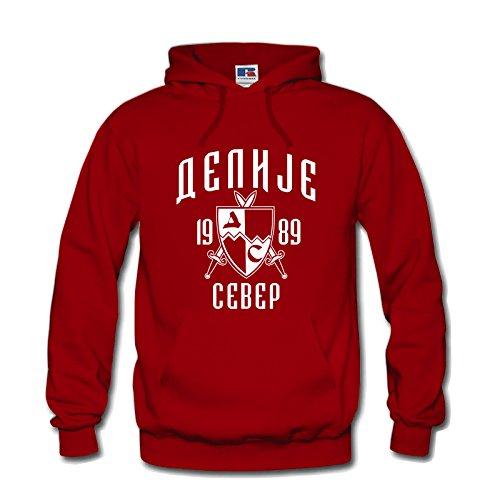 Hoodie Kapuzenpulli Delije Sever Red Star Crvena Zvezda NEU (L, Rot)